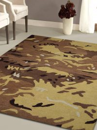 Hand Tufted Wool Area Rug Contemporary Brown Gold