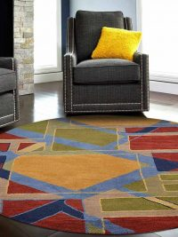 Hand Tufted Wool Round Area Rug Geometric Multicolor
