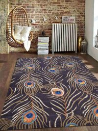 Hand Tufted Wool Area Rug Contemporary Brown