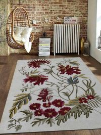Hand Tufted Wool Area Rug Floral Cream
