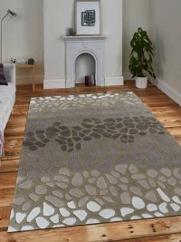 Hand Tufted Wool Area Rug Abstract Brown Green
