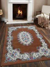 Hand Tufted Wool Area Rug Floral Brown White