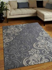 Hand Tufted Wool Area Rug Floral Silver Cream