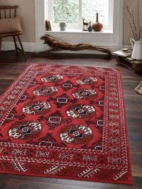 Hand Tufted Wool Area Rug Oriental Red
