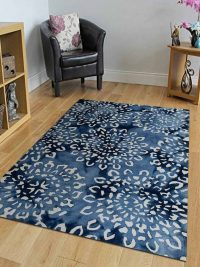 Hand Tufted Wool Area Rug Floral Blue White