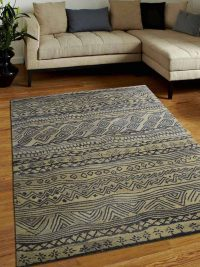 Hand Tufted Wool Area Rug Abstract Gold Charcoal