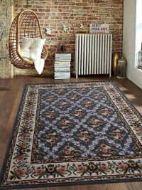 Hand Tufted Wool Area Rug Oriental Gray Cream