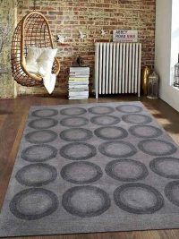 Hand Tufted Wool Area Rug Geometric Silver