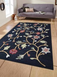 Hand Tufted Wool Area Rug Floral Charcoal