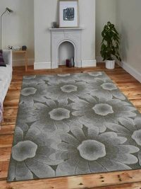 Hand Tufted Wool Area Rug Floral Beige White