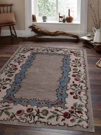 Hand Tufted Wool Area Rug Floral Beige Cream