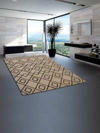 Hand Tufted Wool Area Rug Geometric Cream Brown
