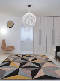 Hand Tufted Wool Area Rug Geometric Multicolor