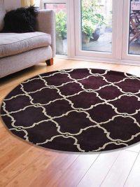 Hand Tufted Wool Round Area Rug Geometric Brown Beige