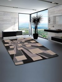Hand Tufted Wool Area Rug Contemporary Beige Multicolor