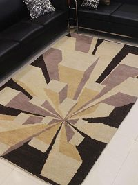 Hand Tufted Wool Area Rug Geometric Brown Multicolor