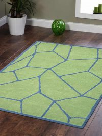 Hand Tufted Wool Area Rug Contemporary Green Blue