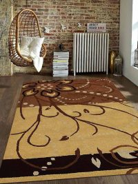 Hand Tufted Wool Area Rug Contemporary Light Brown