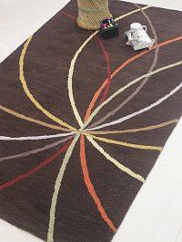 Hand Tufted Wool Area Rug Geometric Brown