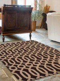 Hand Tufted Wool Area Rug Geometric Brown Beige