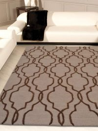 Hand Tufted Wool Area Rug Geometric Beige Brown