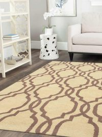 Hand Tufted Wool Area Rug Geometric Gold Brown