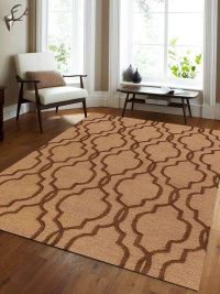 Hand Tufted Wool Area Rug Geometric Light Gold Brown