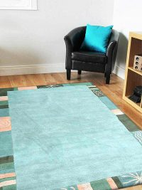 Hand Tufted Wool Area Rug Solid Blue