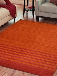 Hand Knotted Loom Wool Area Rug Contemporary Rust Red