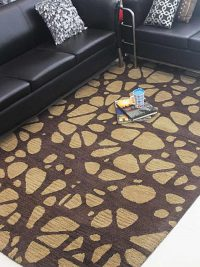 Hand Tufted Wool Area Rug Contemporary Brown Beige