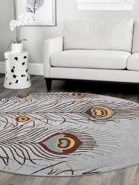 Hand Tufted Wool Round Area Rug Contemporary Silver