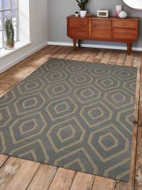 Hand Woven Flat Weave Kilim Wool  Area Rug Contemporary Grey Ivory