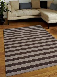 Hand Woven Flat Weave Kilim Wool Area Rug Contemporary Cream Brown