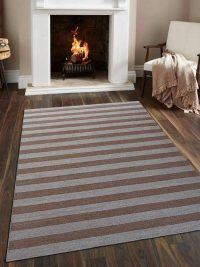 Hand Woven Flat Weave Kilim Wool Area Rug Contemporary Cream Light Brown