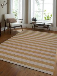 Hand Woven Flat Weave Kilim Wool Area Rug Contemporary Cream Gold
