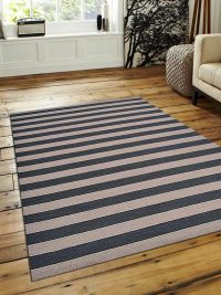 Hand Woven Flat Weave Kilim Wool Area Rug Contemporary Cream Grey