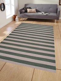Hand Woven Flat Weave Kilim Wool Area Rug Contemporary Cream Olive