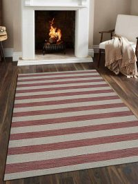 Hand Woven Flat Weave Kilim Wool Area Rug Contemporary Cream Pink