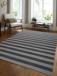 Hand Woven Flat Weave Kilim Wool Area Rug Contemporary Cream Silver