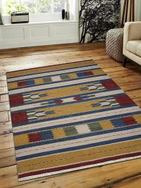 Hand Woven Flat Weave Kilim Wool Area Rug Contemporary Multi
