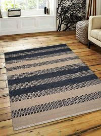 Hand Woven Flat Weave Kilim Wool Area Rug Contemporary Aqua Cream