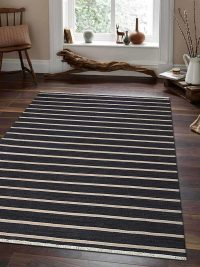 Hand Woven Flat Weave Kilim Wool Area Rug Contemporary Charcoal Cream