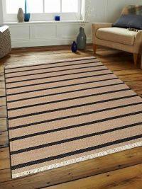 Hand Woven Flat Weave Kilim Woolen Area Rug Contemporary Cream Charcoal