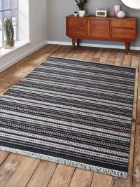Hand Woven Flat Weave Kilim Wool Area Rug Contemporary Charcoal White