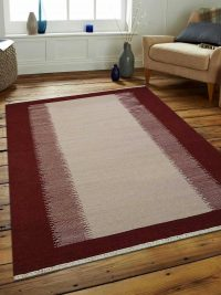 Hand Woven Flat Weave Kilim Wool Area Rug Contemporary Cream Wine