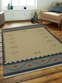 Hand Woven Flat Weave Kilim Wool Area Rug Contemporary White Blue