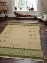 Hand Woven Flat Weave Kilim Woolen Area Rug Contemporary White Green