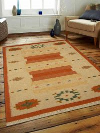 Hand Woven Flat Weave Kilim Woolen Area Rug Contemporary White Rust