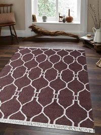 Hand Woven Flat Weave Kilim Wool Area Rug Contemporary White Brown