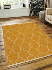 Hand Woven Flat Weave Kilim Woolen Area Rug Contemporary Gold